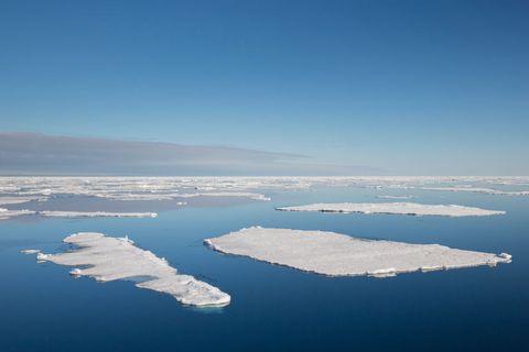 Drift ice - ice floes in the Arctic Ocean, Nordaustlandet.