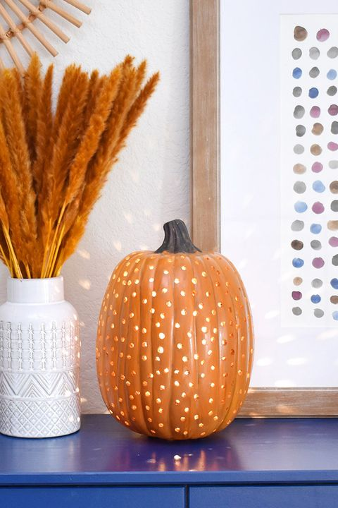 drilled pumpkin light diy fall decor