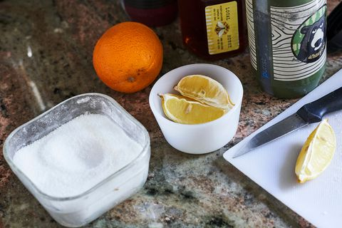 a bowl of salt on a kitchen counter