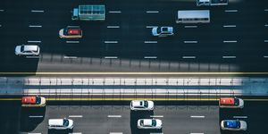 Drone Point View of Dubai City Traffic on a Highway