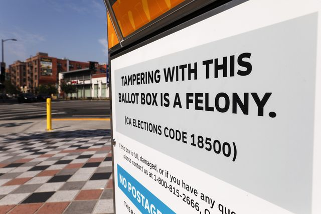 los angeles, california   october 05  an official mail in ballot drop box located outside of a subway station reads 'tampering with this ballot box is a felony' ahead of election day on october 5, 2020 in los angeles, california early voting has begun in california with los angeles county posting 400 secure vote by mail drop boxes across the county photo by mario tamagetty images
