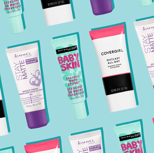 drugstore face primers for oily skin on blue background