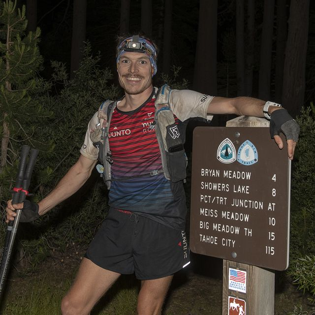 kyle curtin after finishing his tahoe rim trail fkt