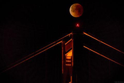 Super Blue Blood Moon, Golden Gate Bridge
