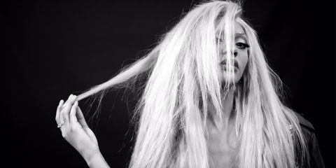Lip, Finger, Hairstyle, Style, Long hair, Beauty, Monochrome photography, Darkness, Blond, Monochrome,
