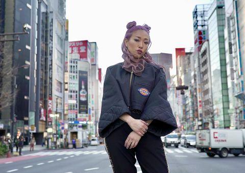 Street fashion, Photograph, Urban area, Fashion, Street, Snapshot, Standing, Human settlement, City, Pedestrian,