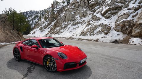 Here's the new Porsche 911 Turbo S stylin' even when it's just parked.