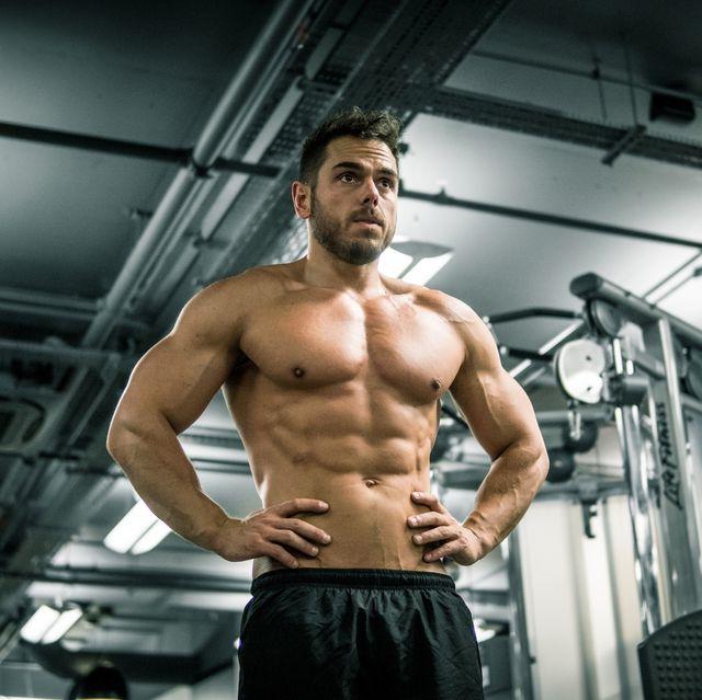 Barechested, Bodybuilding, Bodybuilder, Muscle, Shoulder, Physical fitness, Chest, Arm, Abdomen, Standing,