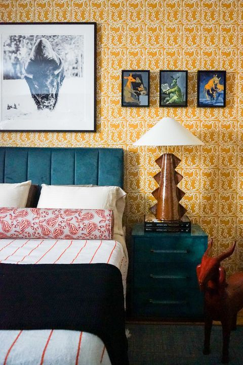 one room challenge, yellow wallpaper, teal side table, teal head board
