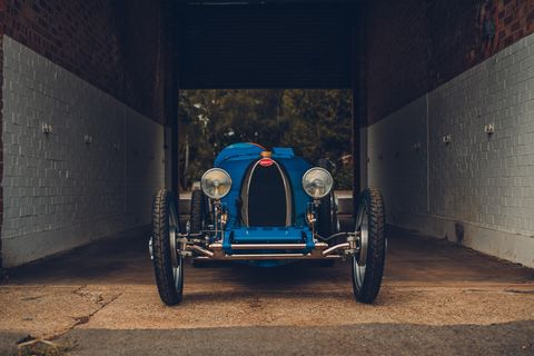 bugatti re envisions the scaled down type 35 baby bugatti as a modern hybrid electric vehicle for kids and kids at heart