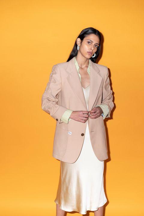 Clothing, White, Outerwear, Blazer, Fashion, Formal wear, Beige, Suit, Jacket, Peach,