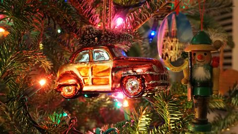 Vintage car with tree Christmas ornament