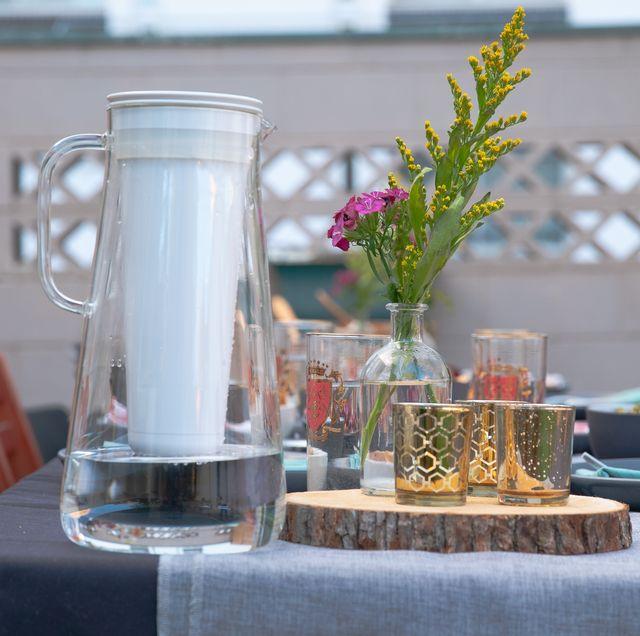 Mason jar, Table, Room, Glass, Brunch, Centrepiece, Plant, Tableware, Flower, Houseplant,