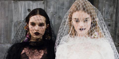 Head, Bridal veil, Skin, Veil, Bridal clothing, Bride, Dress, Wedding dress, Photography, Ceremony,