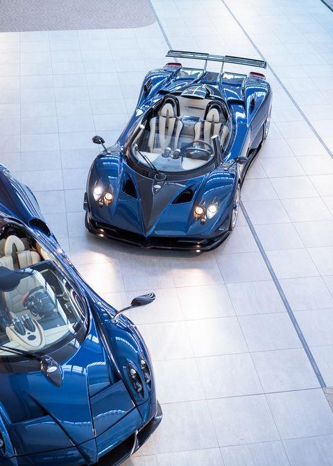 Land vehicle, Vehicle, Car, Supercar, Sports car, Automotive design, Pagani huayra, Pagani zonda, Electric blue, Race car,
