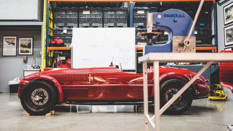 James Glickenhaus 1947 Ferrari 159 Spyder Corsa in SCG shop