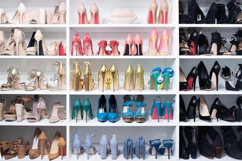 Footwear, Shoe, Fashion, Collection, Room, Shelf, Wig, Fashion design, Closet,
