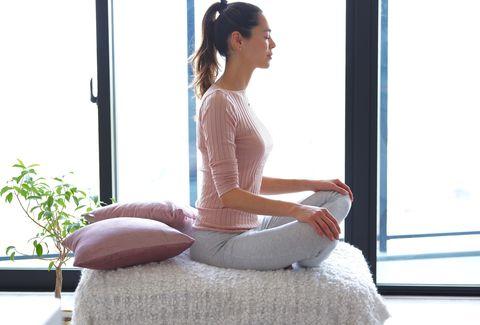 Shoulder, Sitting, Joint, Arm, Leg, Furniture, Neck, Human body, Meditation, Physical fitness,