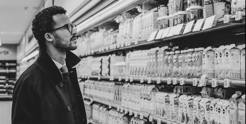Snapshot, Black-and-white, Grocery store, Monochrome, Photography, Supermarket, Customer, Building, Retail,