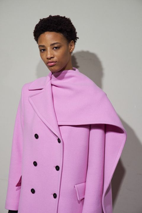 Clothing, Pink, Outerwear, Fashion, Coat, Overcoat, Collar, Magenta, Jacket, Sleeve,