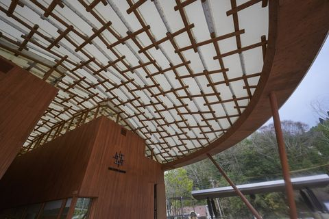 Ceiling, Roof, Daylighting, Architecture, Wood, Building, Tree, Beam, Shade, House,