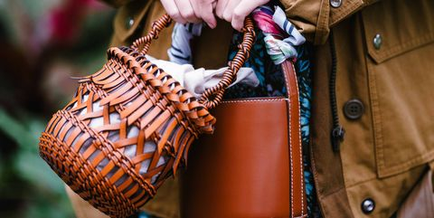 Clothing, Brown, Bag, Textile, Outerwear, Jacket, Collar, Style, Fashion accessory, Street fashion,