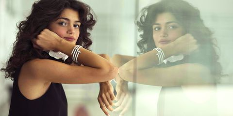 Photo shoot, Beauty, Photography, Black hair, Gesture, Reflection, Long hair, Formal wear, Fashion design,