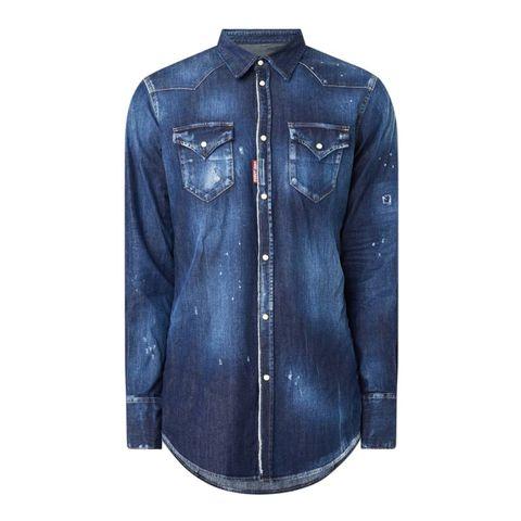 dsquared2 ibrahimovic icon slim fit overhemd van denim met backprint