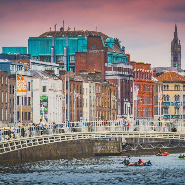 Dublin old town and Ha'penny Bridge, Ireland