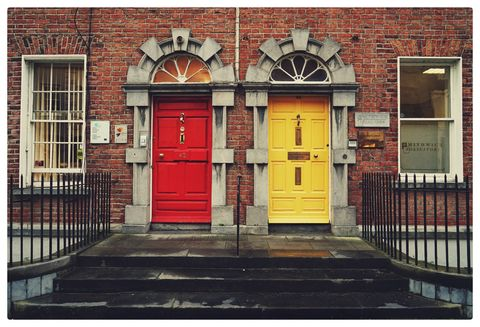 Red, Property, Architecture, Building, Door, Facade, House, Text, Yellow, Town,