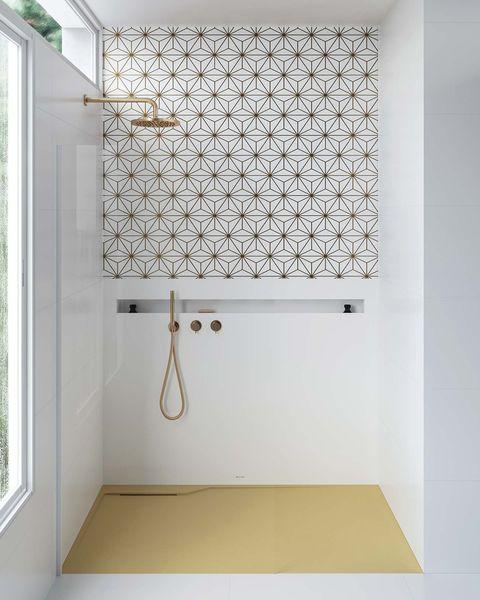 ducha de obra en blanco y dorado plato de ducha amarillo twin yr