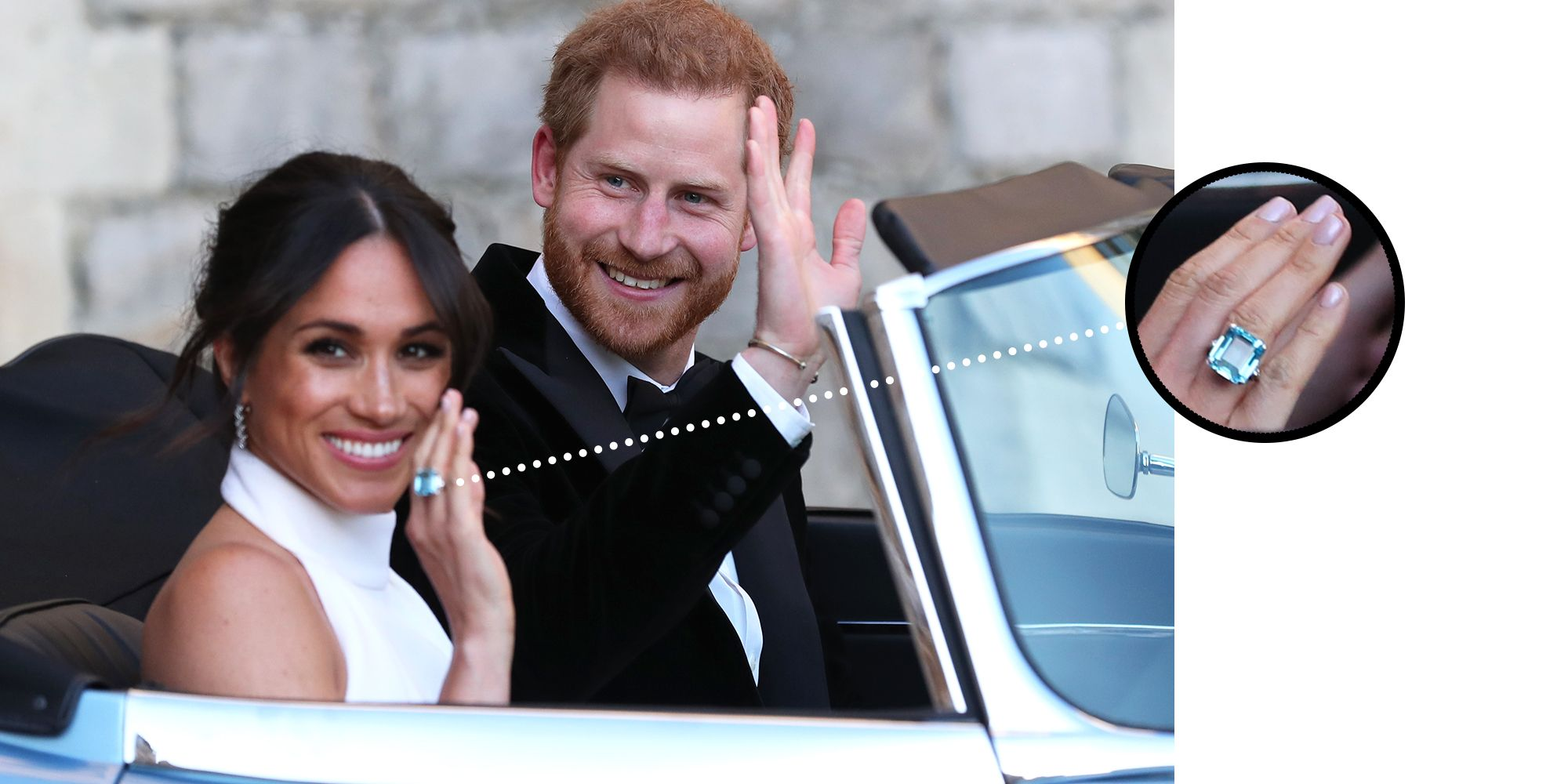 Meghan Wearing the Ring on May 19, 2018 Just hours after her wedding to Prince Harry at St George's Chapel, the new Duchess of Sussex stepped out in a stunning Stella McCartney gown. But it was the large aquamarine glittering on her finger that caught everyone's attention as the couple drove from Windsor Castle for their evening Reception at Frogmore House.