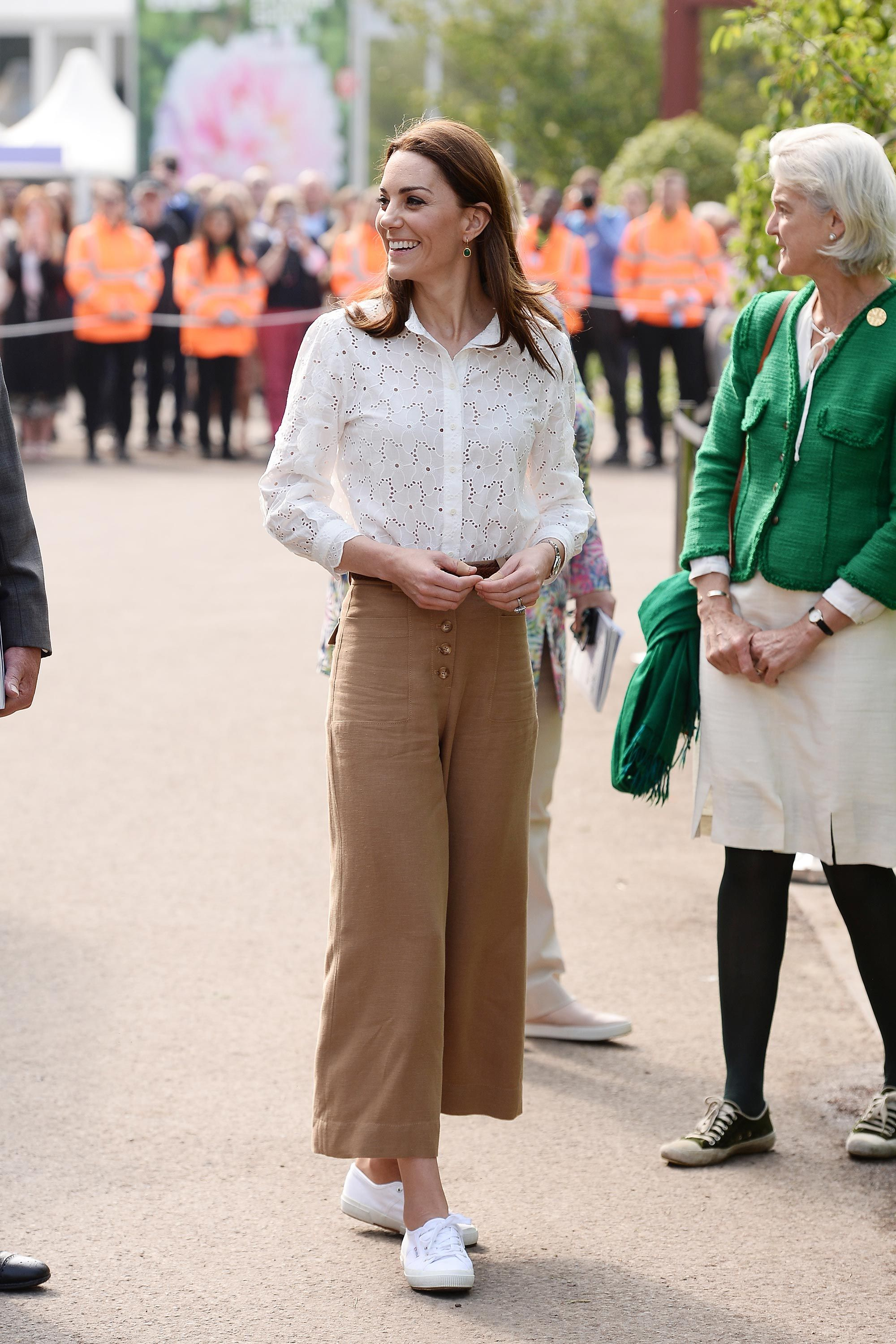 The Duchess of Cambridge masters the wide-leg trouser trend