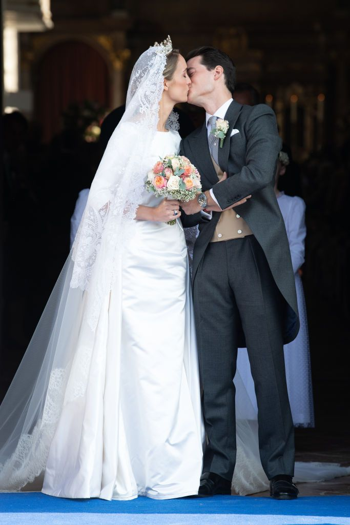 The German duchess tied the knot with the French aristocrat in a small ceremony at Saint Quirin Church in the Castle of Tegernsee, near the Bavarian Alps in Germany. The bride looked stunning in a simple white three quarter-length sleeve dress and following the ceremony the couple marched down the street in a celebratory parade .