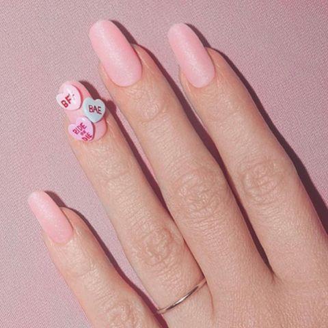 conversation heart manicure