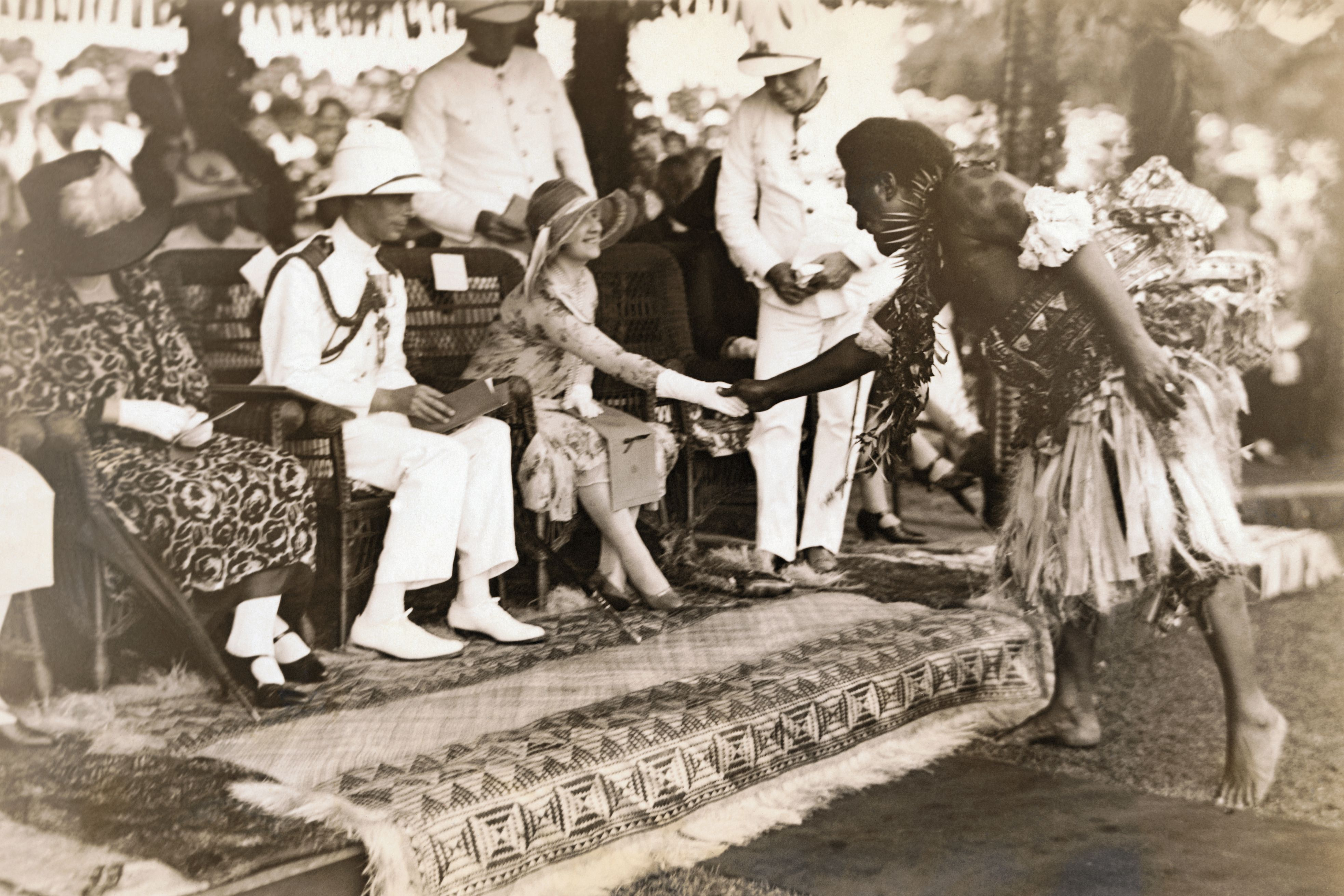 Duchess of York Being Greeted by Native of Fiji Islands