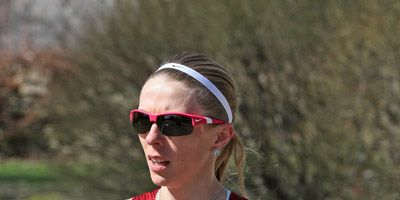 Aleksandra Duliba running the 2014 Boston Marathon