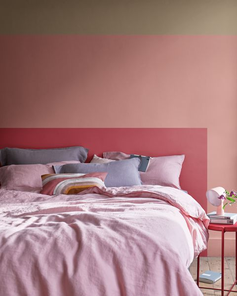 bedroom with pink paint from dulux
