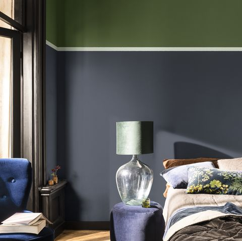 blue and green bedroom scheme – dulux colour of the year 2020 tranquil dawn creativity colour palette