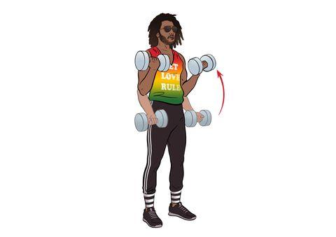 Lenny Kravitz training