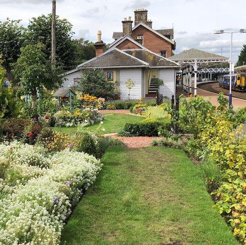 Dumfries train station garden photo