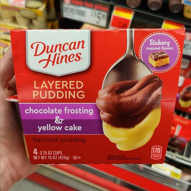 duncan hines layered pudding chocolate frosting  yellow cake cups