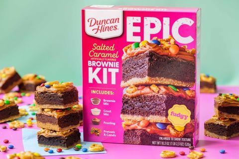 duncan hines epic salted caramel brownie baking kit