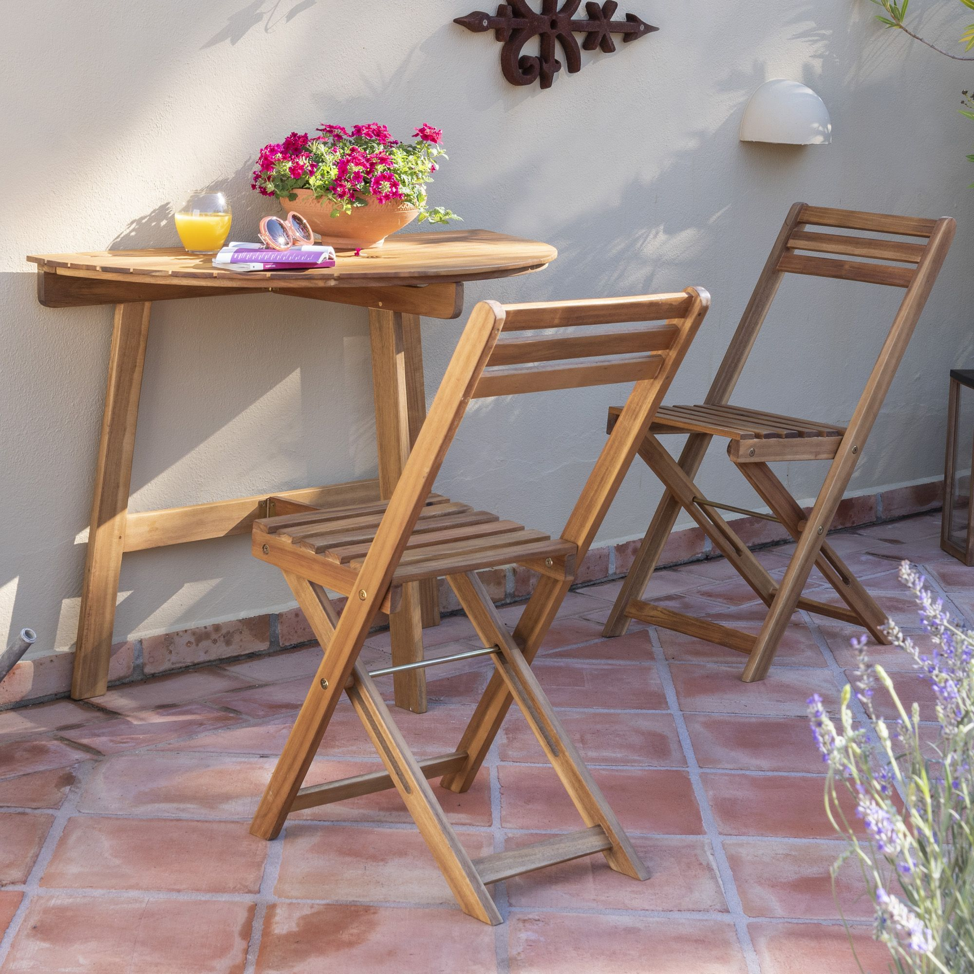 Wooden balcony half table and chairs