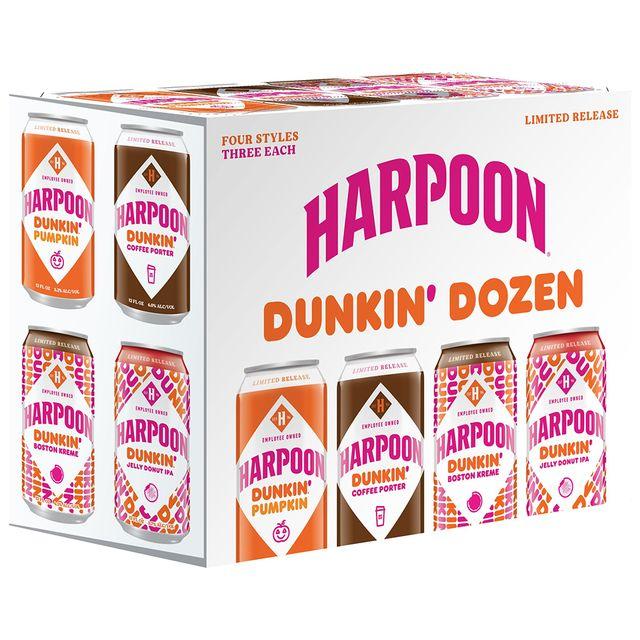 dunkin' and harpoon pumpkin, boston kreme, jelly donut, and coffee porter beers