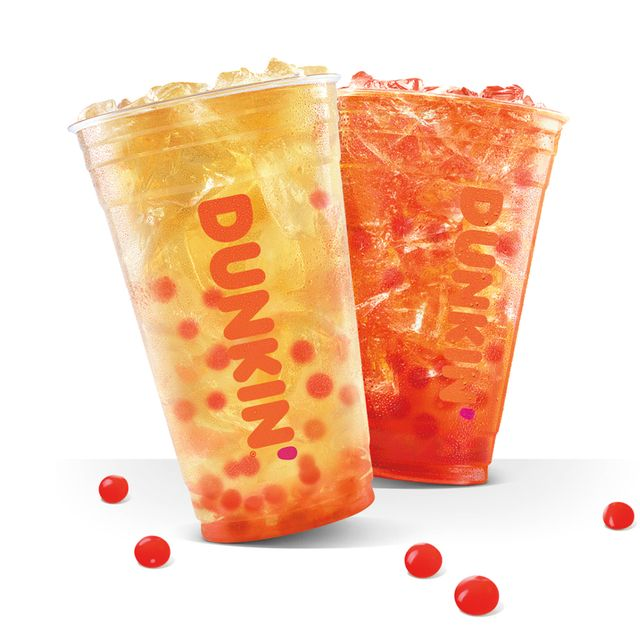 dunkin' popping bubble iced tea with strawberry popping bubbles