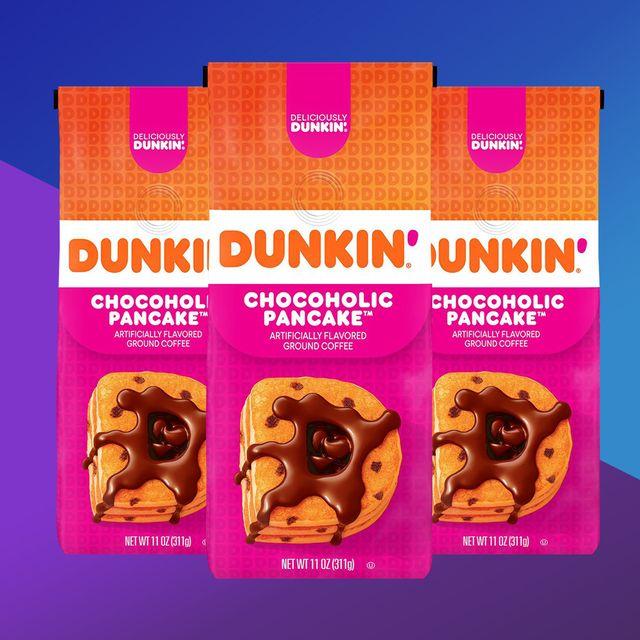 dunkin donuts chocoholic pancake morning coffee
