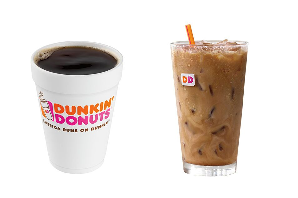 Dunkin Donuts hot coffee and iced coffee