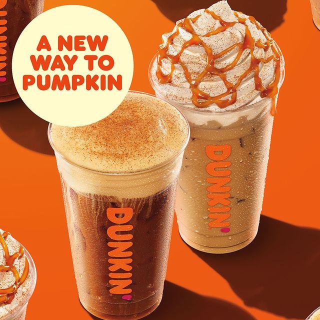 dunkin' fall menu 2021 pumpkin cream cold brew and pumpkin spice latte