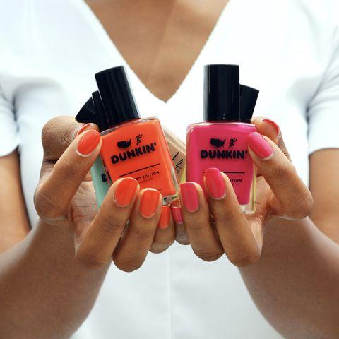 Nail, Nail polish, Red, Orange, Cosmetics, Nail care, Skin, Lip, Finger, Beauty,